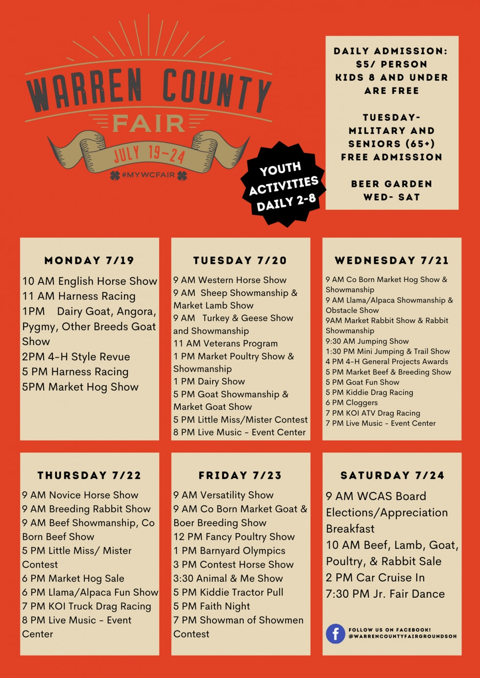 The fair starts Monday and will go through Saturday.