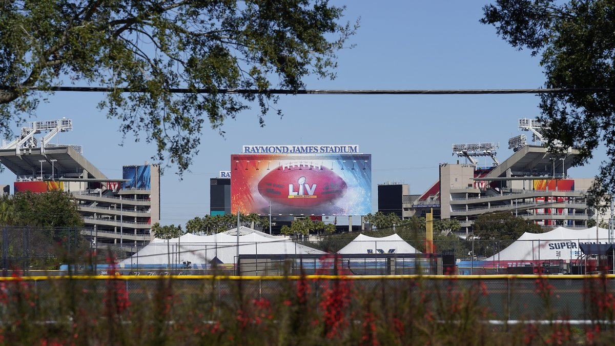 Raymond James Stadium, the site of NFL football Super Bowl LV, is shown Thursday, Jan. 28,...