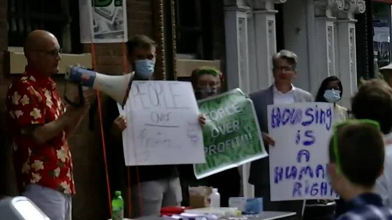 Protest over evictions in Court Street apartment building