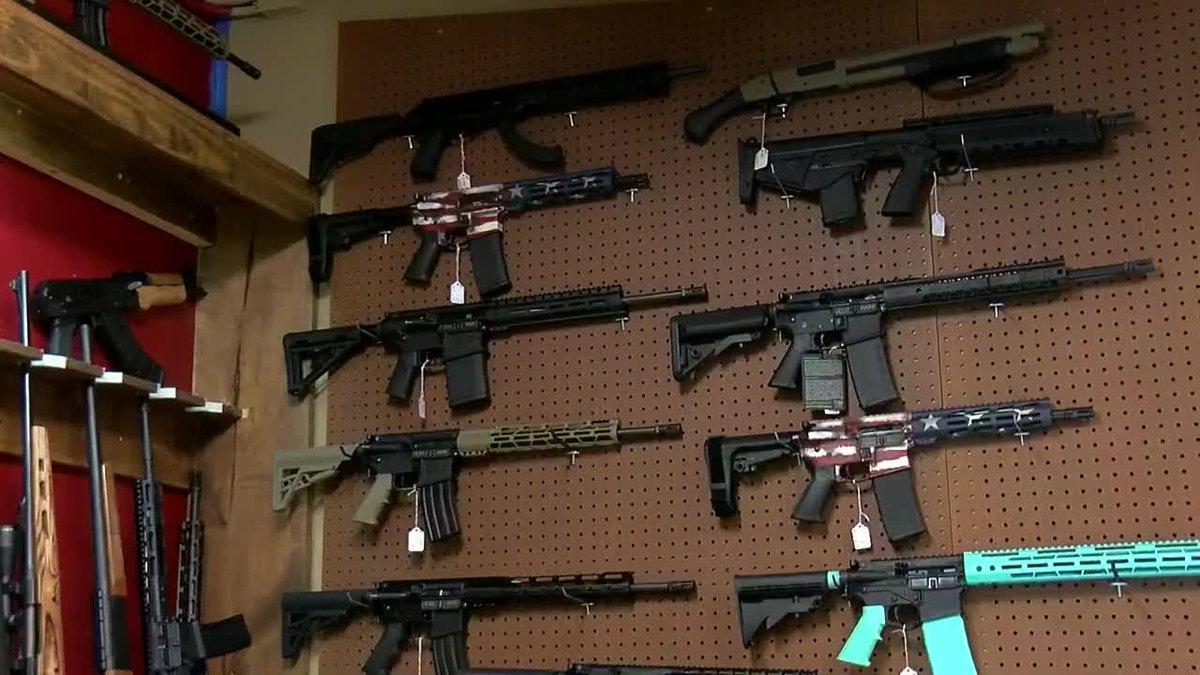 Firearms for sale at a local gun shop.