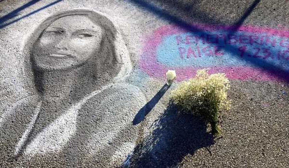 A chalk mural of Johnson at Covington's Goebel Park on the four year anniversary of her...