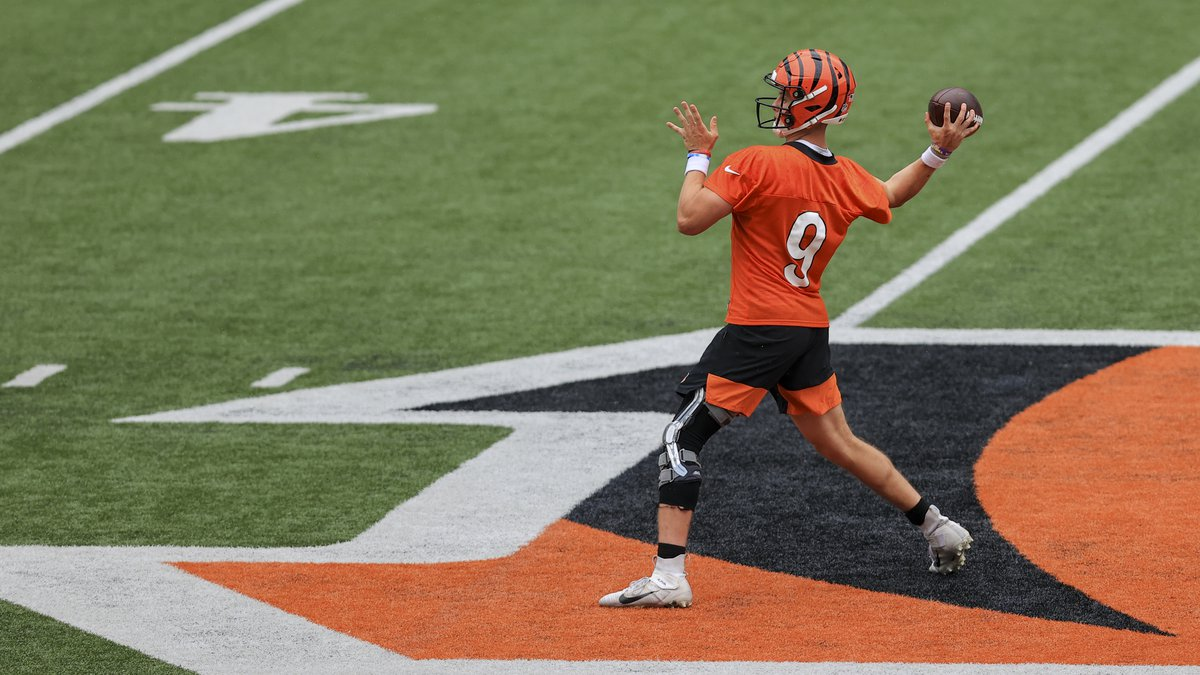 Cincinnati Bengals' Joe Burrow throws a pass in a drill during an NFL football practice in...