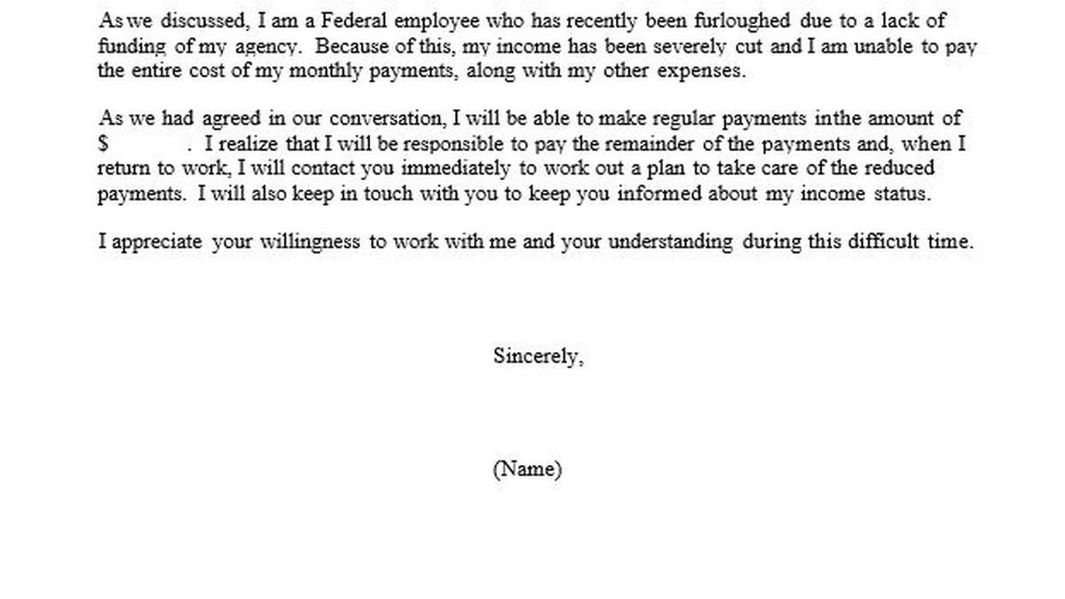 The Office of Personnel Management has given furloughed workers form letters to ask for...