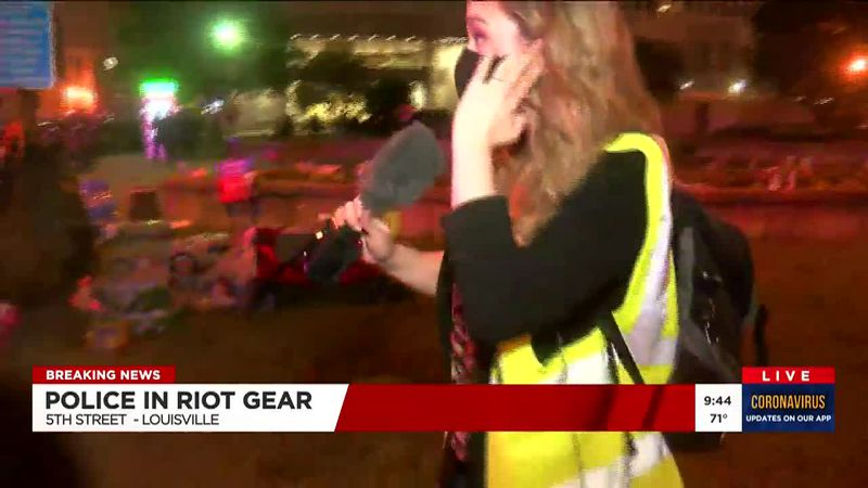 WAVE 3 News reporter Kaitlin Rust appeared to have been hit by rubber bullets reportedly fired...