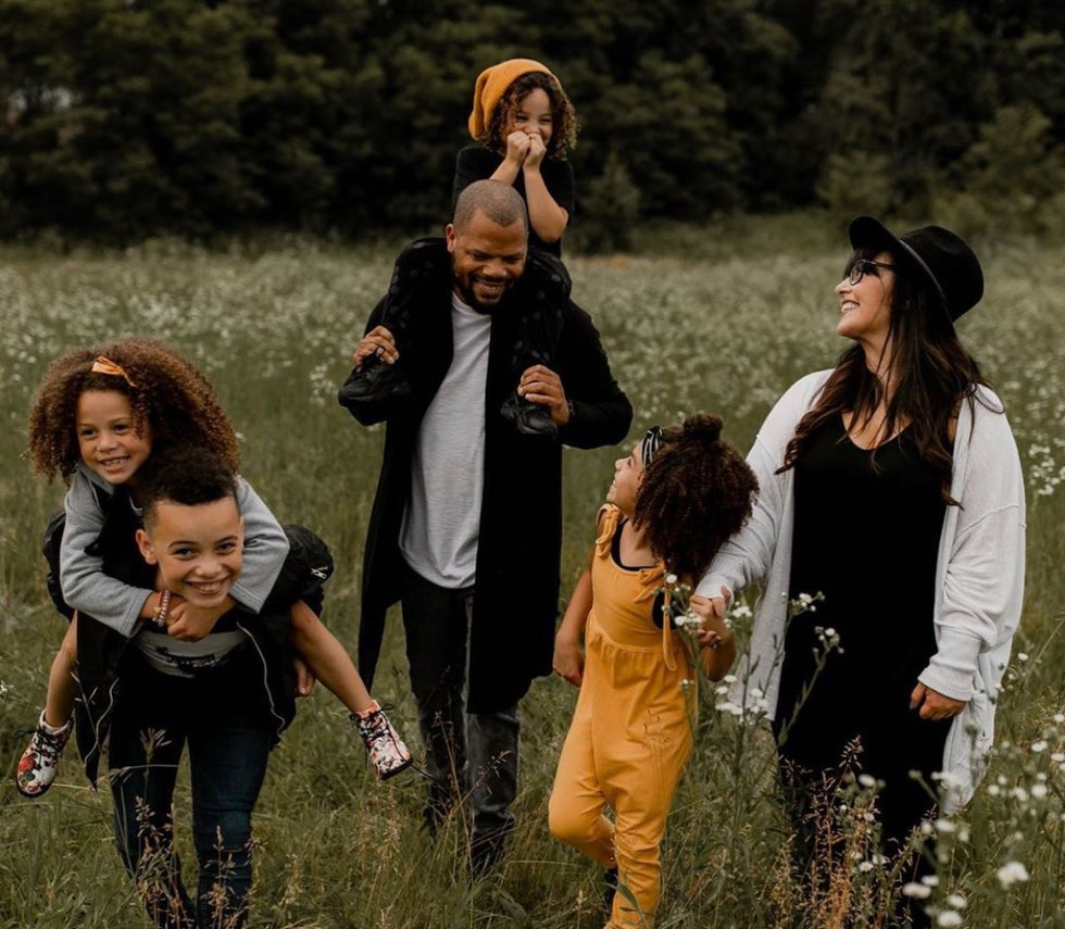 LaMorris Crawford with his wife, Megan, and their children.