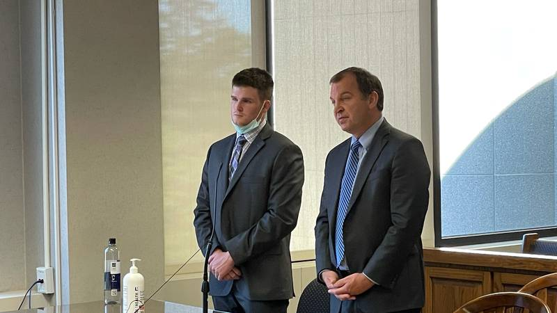 Niall Sweeney appears in court to enter a guilty plea in the hazing death of BGSU sophomore...