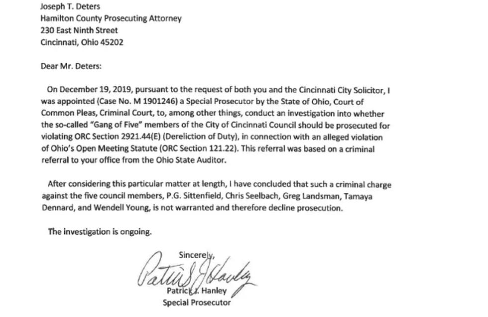 This is the letter Special Prosecutor Patrick Hanley wrote Hamilton County Prosecutor Joe...
