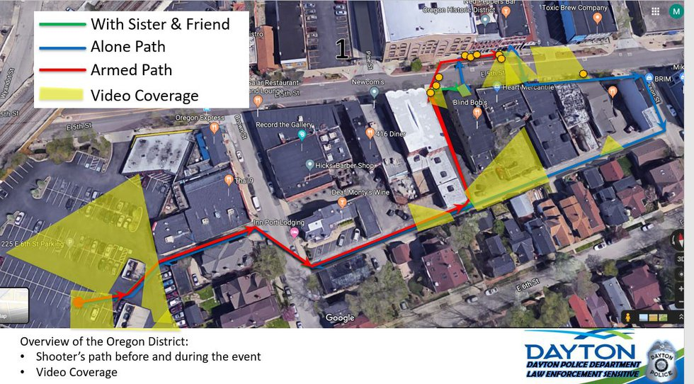 This image shows the path the shooter took with his sister and a friend, then where he walked...