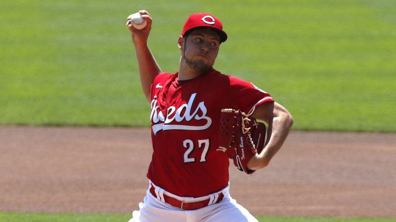 Jul 26, 2020; Cincinnati, Ohio, USA; Cincinnati Reds starting pitcher Trevor Bauer (27) throws...