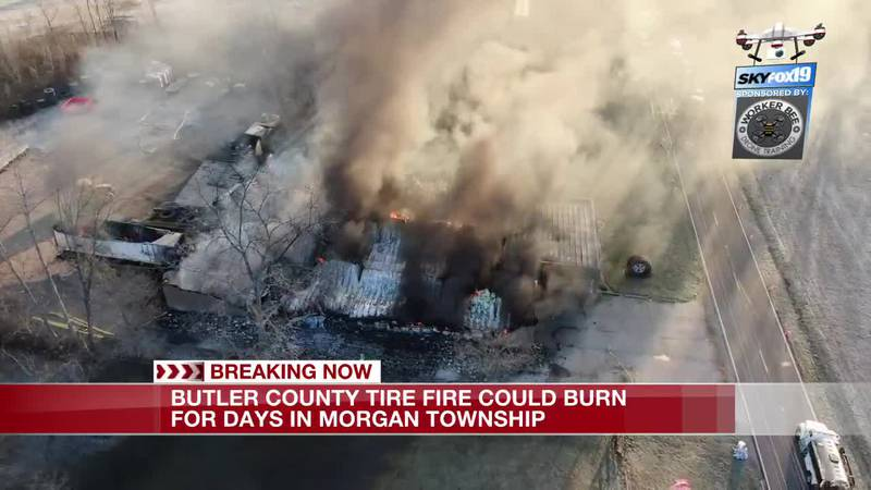 DRONE: Tire fire in Butler Countly could burn for days