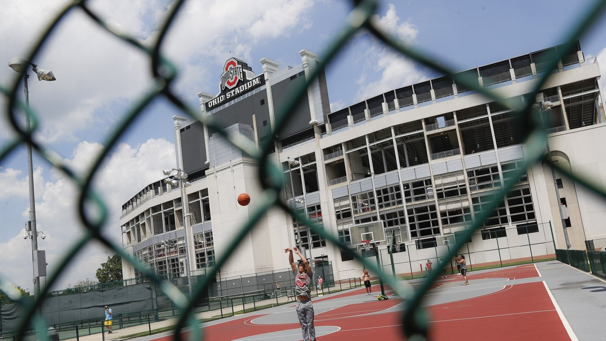 The OSU football stadium and nearby basketball courts, file photo.