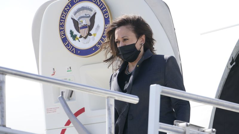 Vice President Kamala Harris steps off Air Force Two, Monday, March 22, 2021 in Jacksonville,...