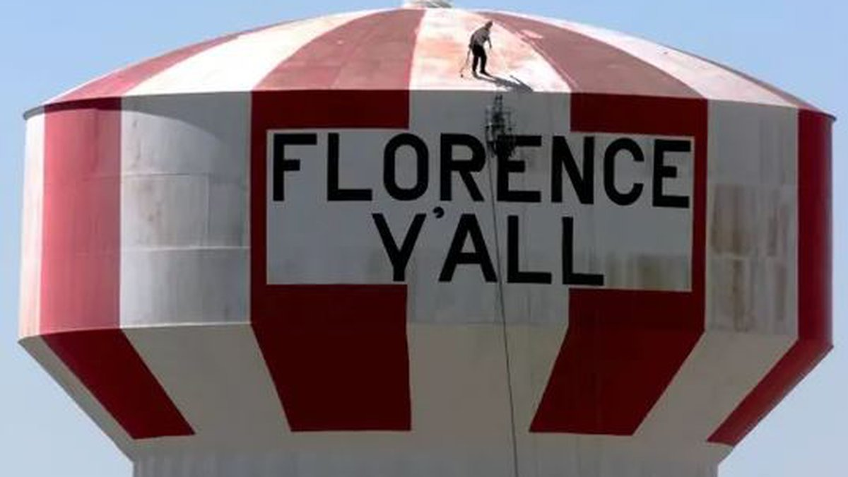 """The landmark will be repainted with the """"Florence Y'all"""" slogan."""