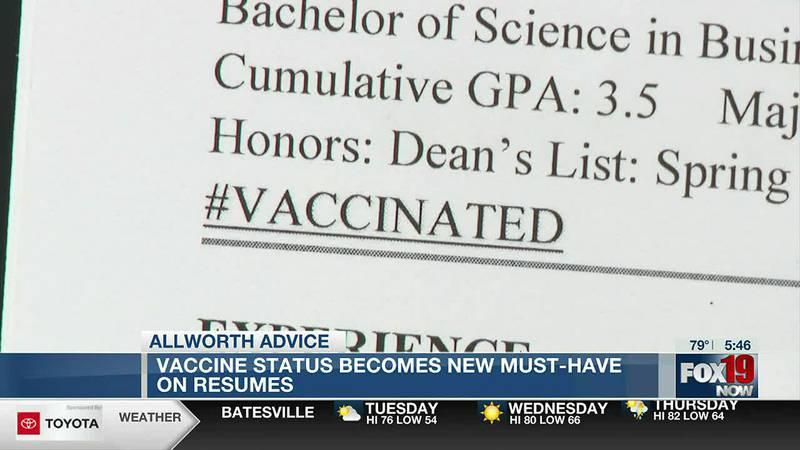 Allworth Advice: Vaccine status becomes must-have on resumes