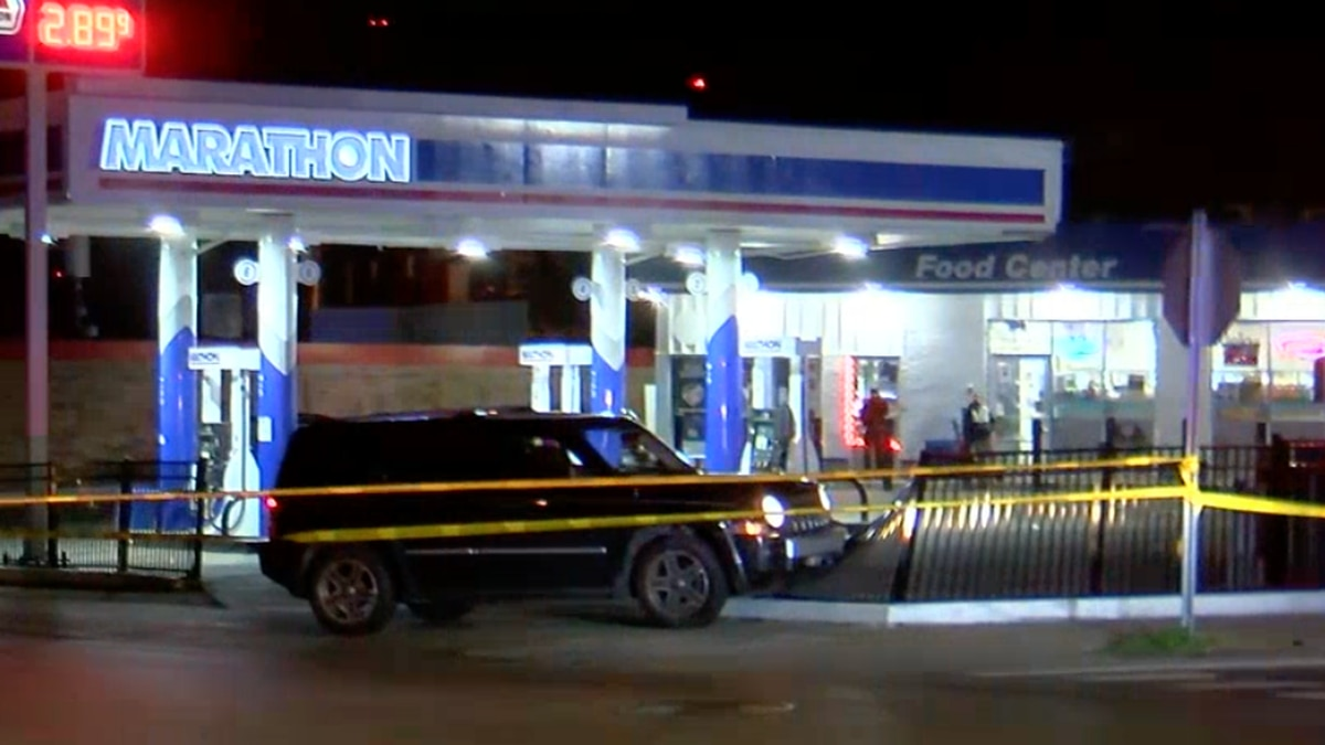Police investigate a shooting at a gas station in Price Hill.