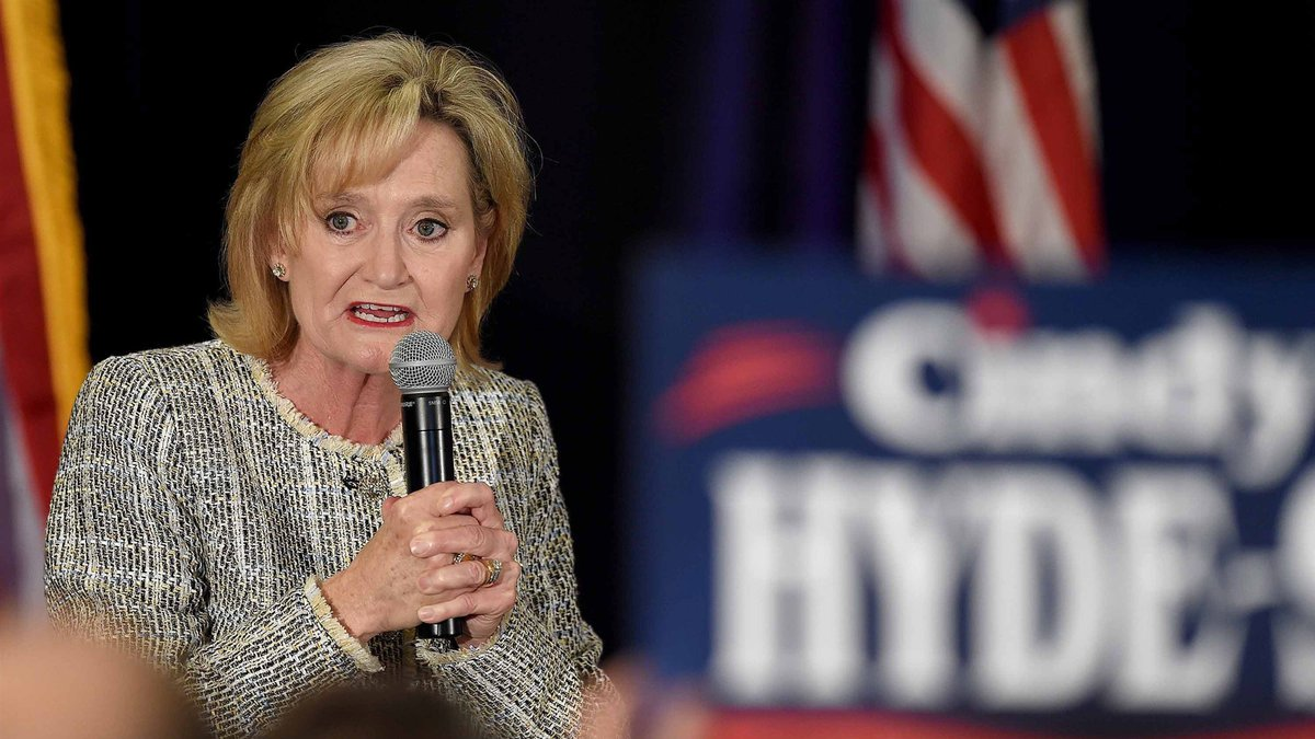Senator Cindy Hyde-Smith talks to supporters in in Jackson, Mississippi, on Nov. 6, 2018.Chris...