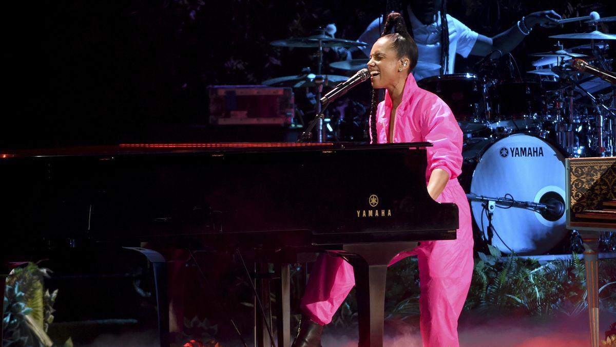 Alicia Keys performs a medley at the 20th Latin Grammy Awards on Thursday, Nov. 14, 2019, at...