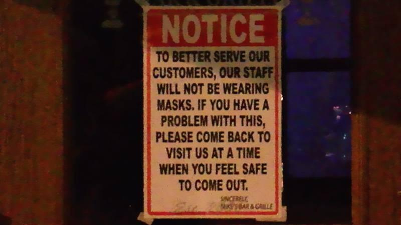 Berea restaurant posts 'our staff will not be wearing masks' sign on door amid coronavirus crisis