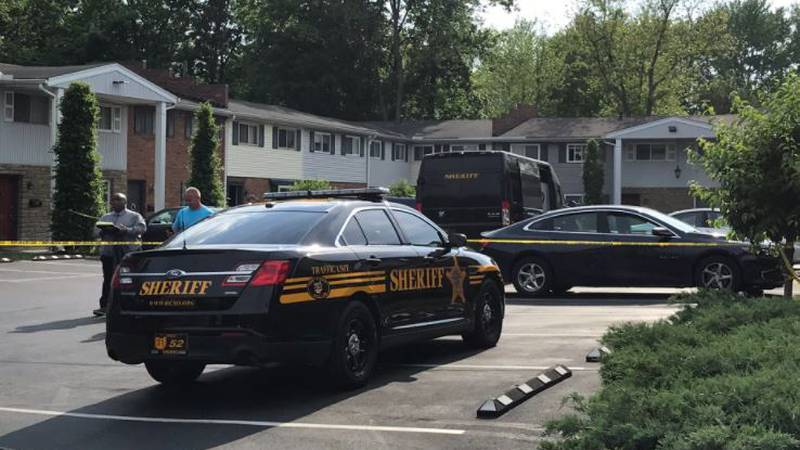 Police at the scene of a shooting on Monday in Sycamore Township