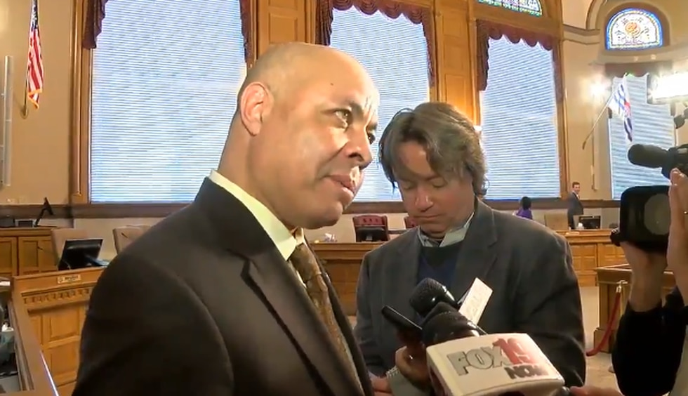 """Harry Black tells reporters at City Hall """"I""""m here to stay."""" (FOX19 NOW)"""