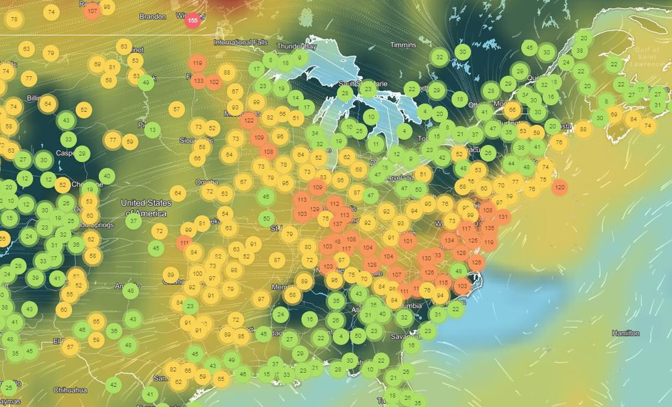 Air Quality Index map over the eastern United States shows the impact of the jet stream's...