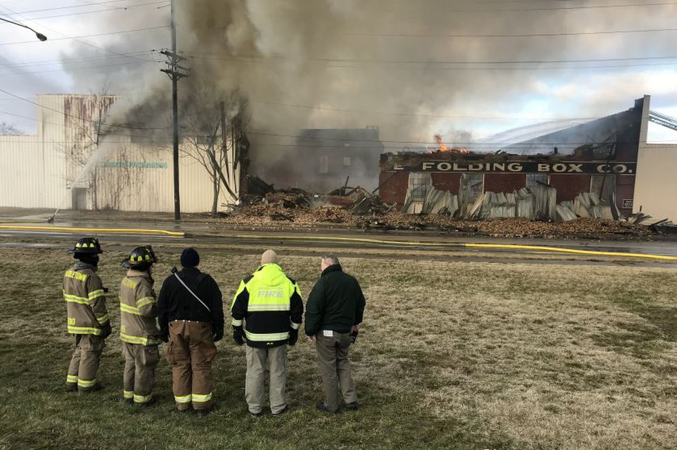 Crews battling a vacant warehouse fire in Middletown.