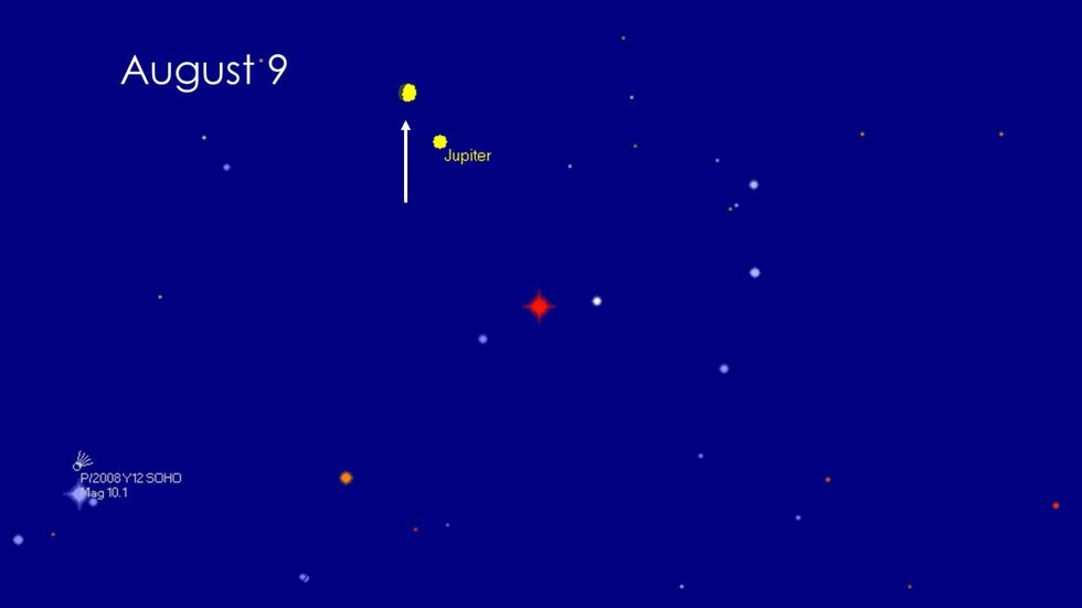 The arrow is point at the moon that will be 73% full Friday night. Jupiter will be the very...