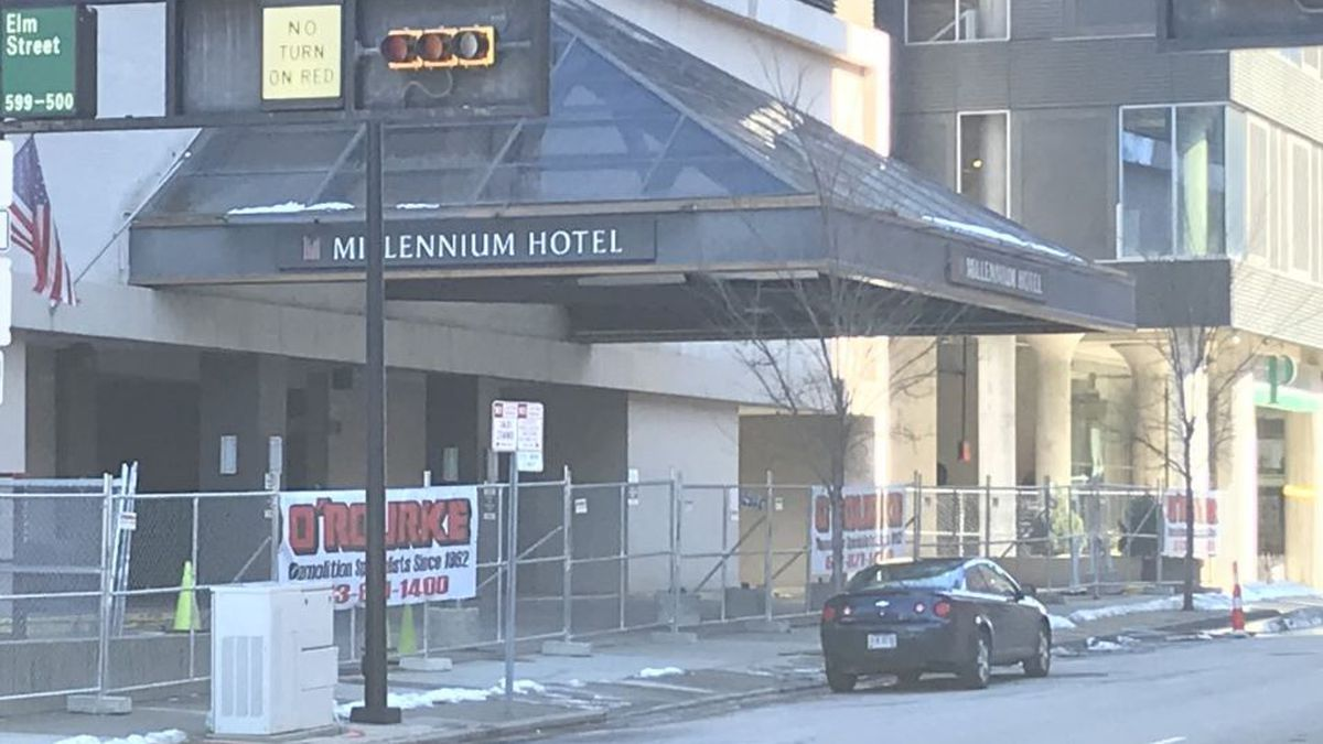 Fencing has been placed around the Millennium Hotel ahead of demolition.