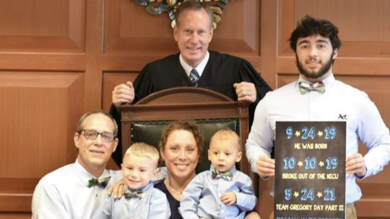 The Gregory family following the adoption of Regan on May 24, 2021