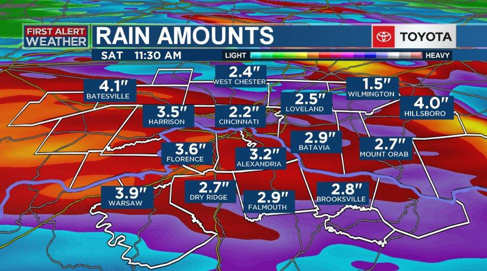 Possible rain amount totals