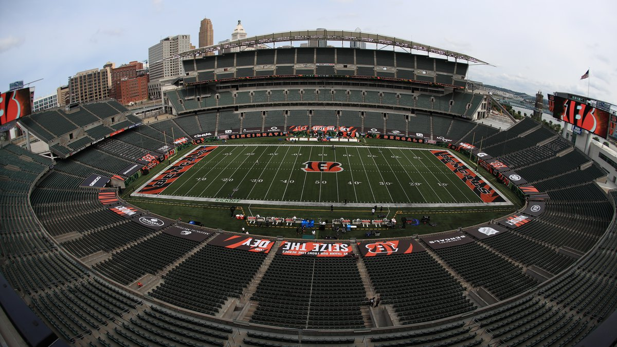 FILE—In this file photo from Sept. 13, 2020, players walk out to the field before at Paul Brown...