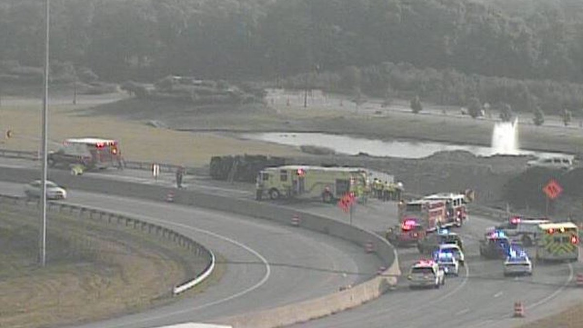 The overturned semi closed the ramp earlier Wednesday.