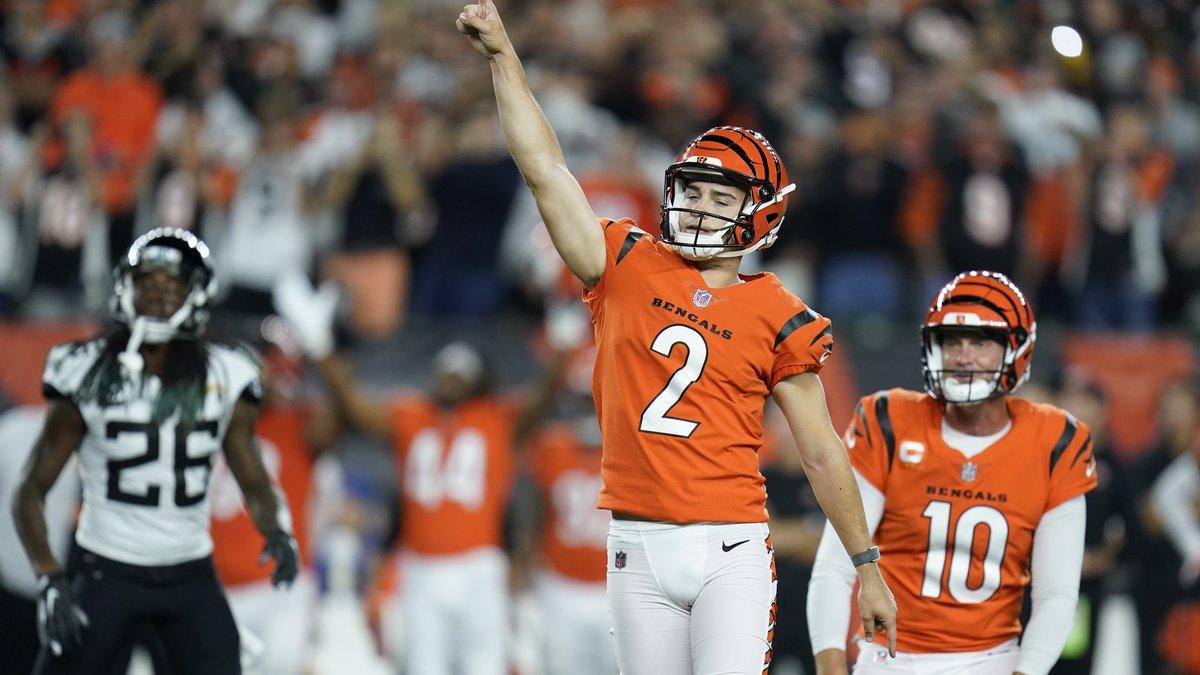 Cincinnati Bengals kicker Evan McPherson (2) reacts after kicking the game-winning field goal...