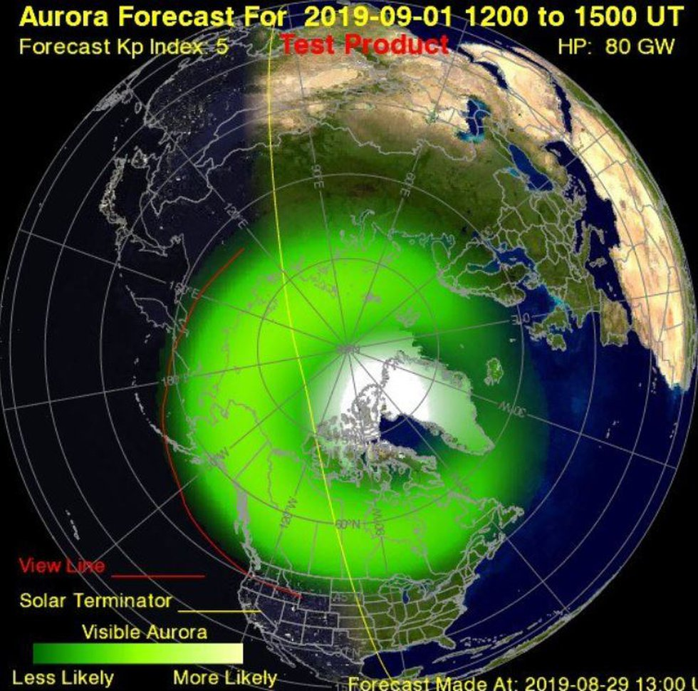 This map shows the northern lights prediction for this weekend. As you can see Ohio is well out...