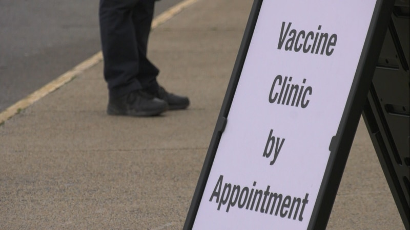 Sign outside the new COVID-19 vaccination clinic