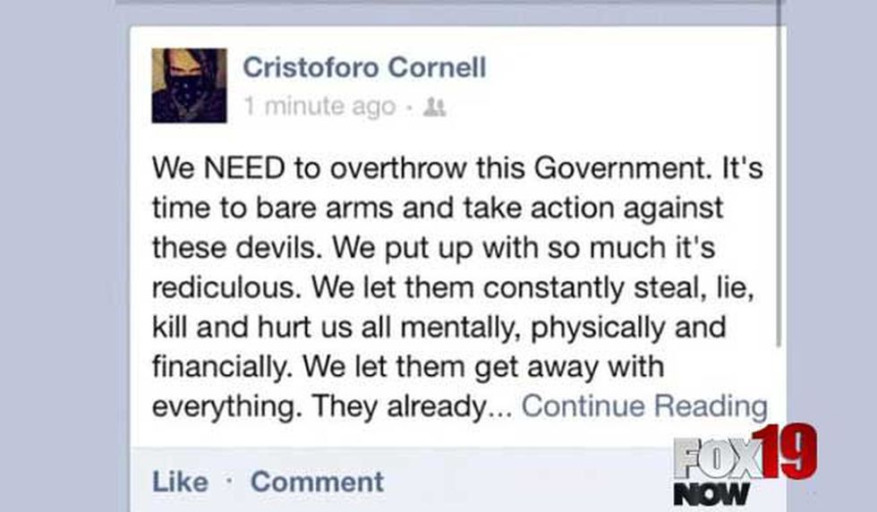 A Facebook post made by Chris Cornell shows anger toward the government. (PHOTO: FOX19 NOW)