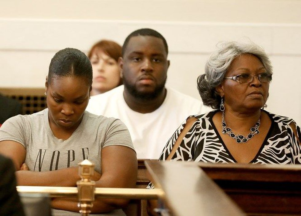 Sam DuBose's family listen as the judge declares a mistrial. (Pool/Cara Owsley)