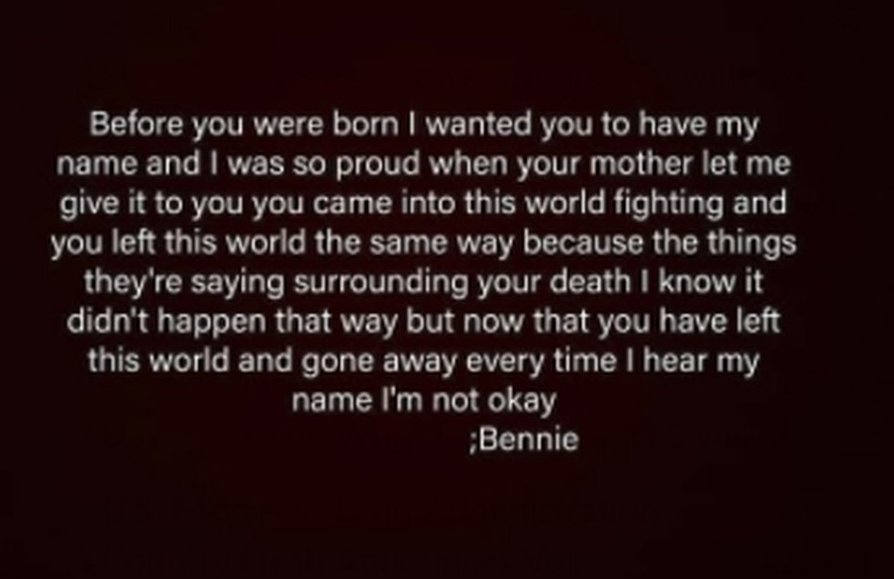 A poem Bennie Boggs Sr. wrote for his son, who died from a gunshot wound in early December.