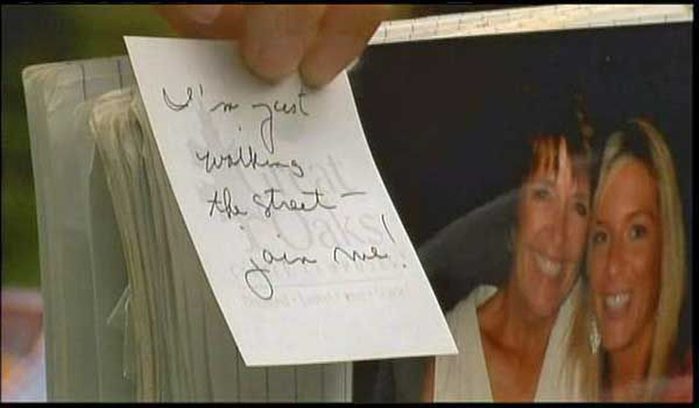 Patricia's note to her husband left moments before she was struck by the SUV. (FOX19)