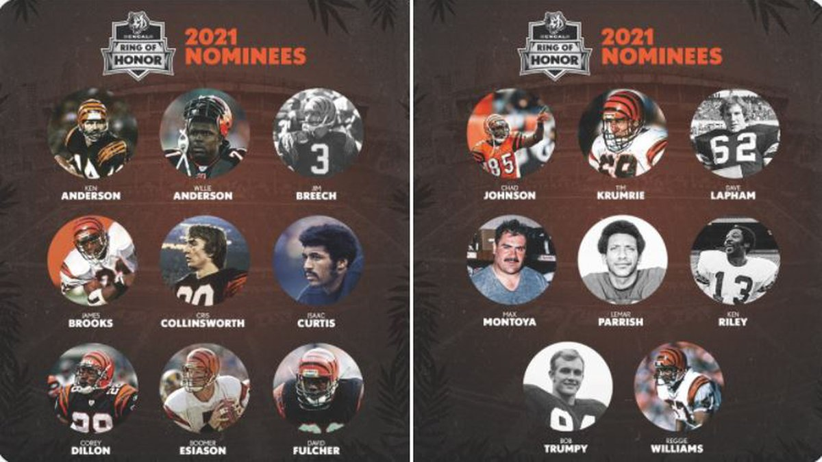 Cincinnati Bengals introduce the 17 nominees for the inaugural class of the Bengals Ring of Honor