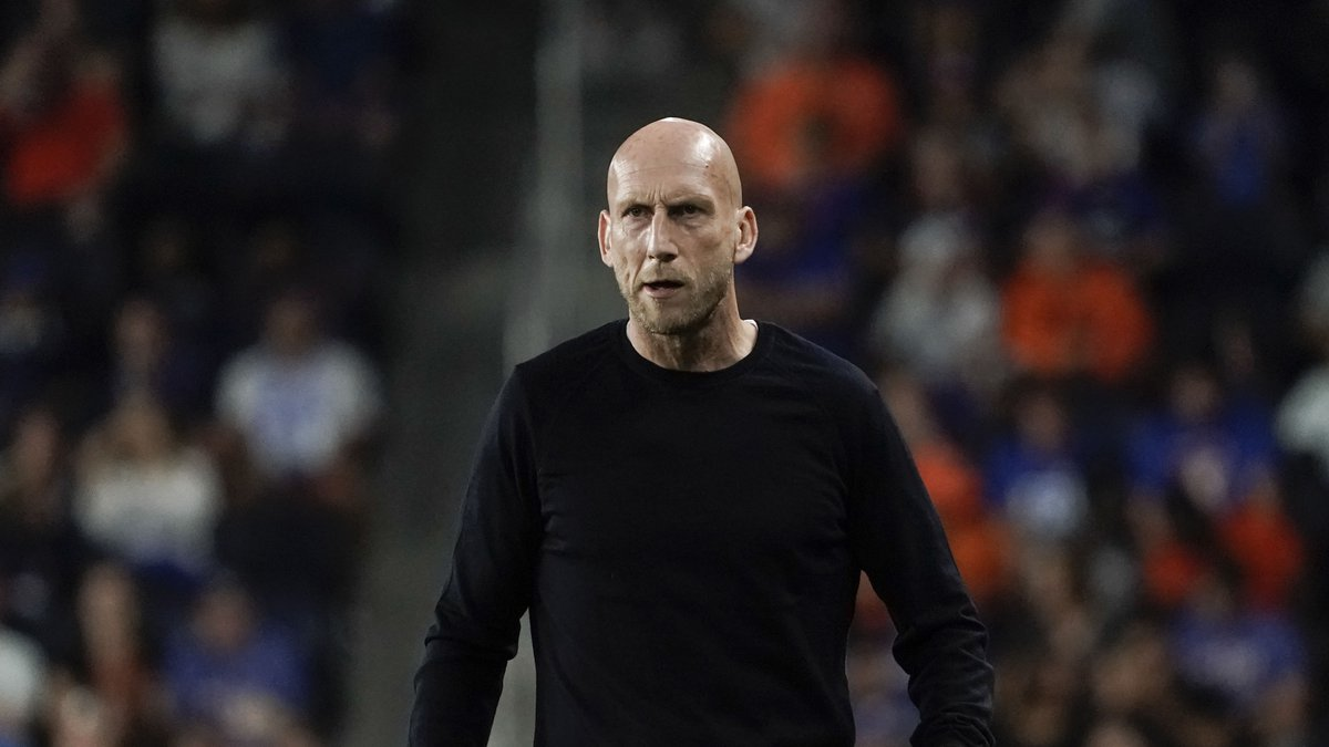 FC Cincinnati head coach Jaap Stam stands on the sidelines during the first half of an MLS...