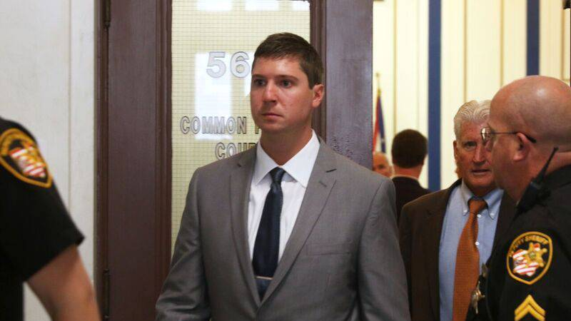 Tensing enters the courtroom during his first trial last fall. (Photo: Cincinnati Enquirer)