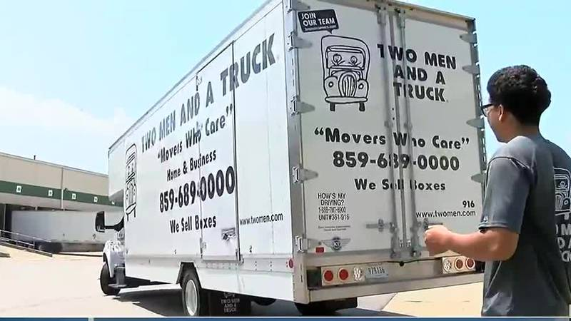 Professional movers battling hot, humid weather