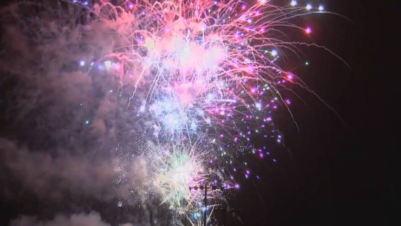 FILE- A photo of the fireworks show during the Fourth of July celebration in Statesboro.