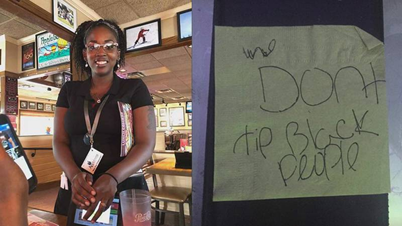 Jasmine waited on a table at Applebee's who left her this racist note.