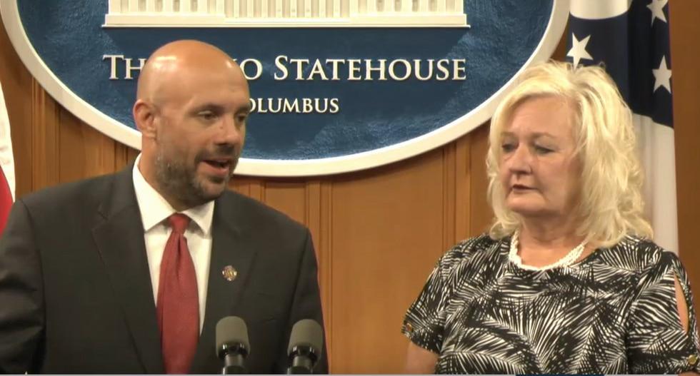 Rep. Jeffrey Crossman of Parma and Rep. Lisa Sobecki of Toledo in Columbus calling for...