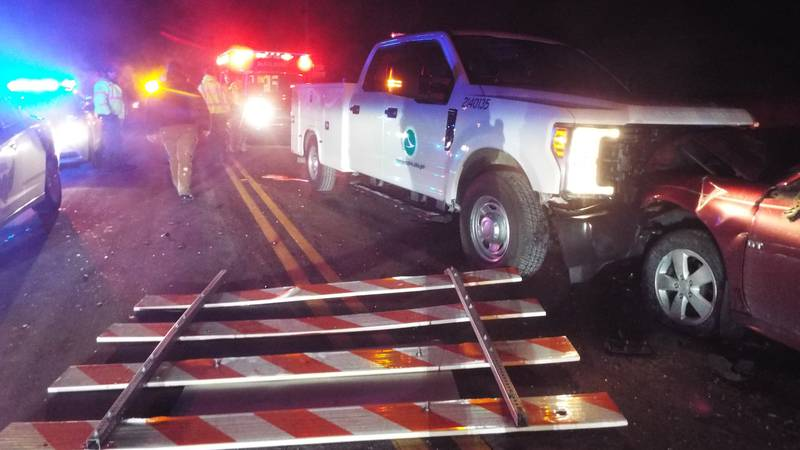 Two people injured after impaired driver crashes into ODOT truck